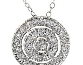 1.00CT Diamond Solitaire Vintage Halo Round Round Bezel Pendant 14K White Gold