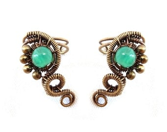 Ear Cuff - Small Cartilage Earring - Fake Piercing - Bronze Earrings - Wire Wrapped - Indian Jewelry Collection