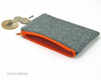 Men's Orange Zip Pouch - Gray Card Case - Gift for Men - Hunter Orange Zipper Wallet - Mens Organizer - Guys Coin Pouch - Ready to Ship