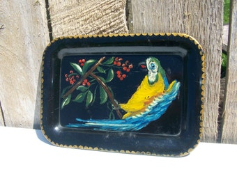 Vintage Tole Tray Parrot Tropical Hand-Painted Metal 4 5/8 x 6 5/8 in.