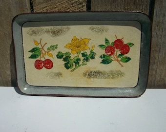 Vintage Gray/Cream Paper Mache Tole Tray Cherries/Yellow Floral