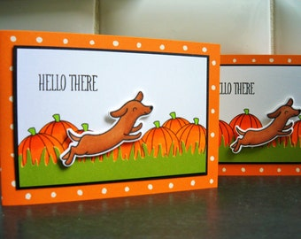 Dachshund Thank You Cards Set of 2, Dog Stationery, Doxie Lover Notecards Set, Autumn Thank You Cards, Hello Cards