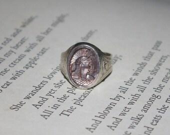 Art Nouveau Intaglio Roman Warrior Soldier 925 Sterling Silver Ring Size 12