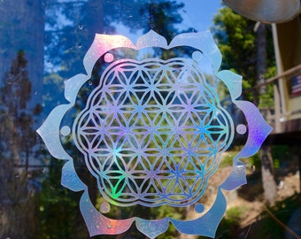 Flower of Life with Petals Vinyl Decal | Laptop or Wall | Mandala Sacred Geometry | Geometric Yoga | Rainbow Holographic Sticker