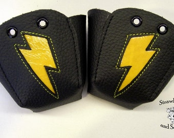 Black leather Roller skate Toe Guards with patent Yellow bolts