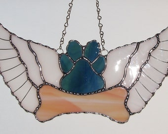 Stained Glass Suncatcher - Dog Paw Print with wings and Bone