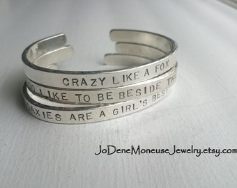 Sterling silver personalized cuff,mens or womens custom hand stamped cuff,names,words,quote,lat long,coordinates,mom,dad,metalsmith jewelry