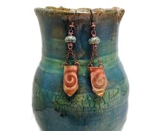Lampwork glass and 3d embossed copper drop earrings