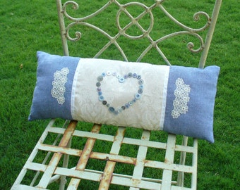 Blue Denim and Cream Lace Button Heart Lumbar Pillow by WeeWoollyBurros