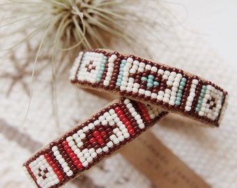 BC-11, handmade Native American inspired adjustable beaded  cuff bracelet