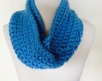 Ready to Ship, Classic Loop Scarf, Bright Blue, Unisex Adult