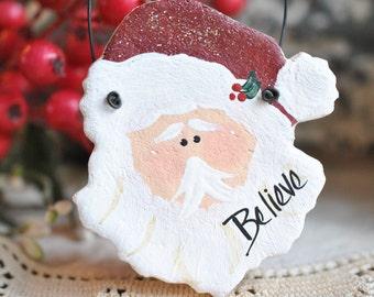 Santa Ornament Salt Dough Party Favors / Napkin Ring Christmas Ornament