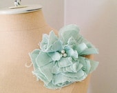 Wedding Flower Corsage Brooch Corsage Pin In Pistachio Green With Pearl Beading