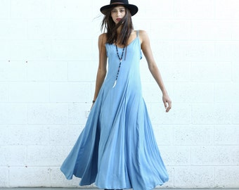 Flare Maxi dress, light denim.