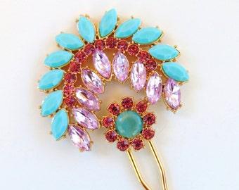 Crystal Rhinestone Bridal Hair Comb, Gold Hair Pin, Turquoise Hair Pin, Rhinestone, Pink Rhinestone Hair Pin, Turquoise Boho Bride SPIRIT