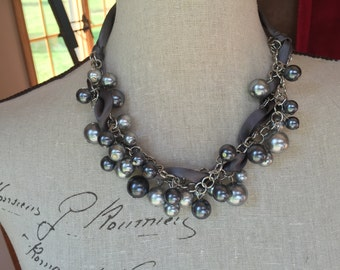 Chunky pearl and ribbon necklace, Pearl bridesmaid jewelry, grey/gray pearls