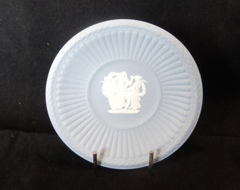 White and Blue Jasperware small Wedgwood plate with The Three Graces, Daughters of Zeus, Made in England, Trinket dish