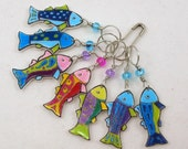 rainbow fish stitch markers, whimsical, colorful set of 7, snag free
