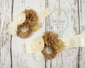 burlap headband- rustic headband- girls headband- baby headband- bridal sash and headband- baby rustic headband- country chic headband
