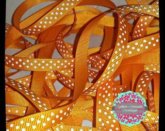 "3/8"" Orange Polka Dot Grosgrain Ribbon Sold in 5 Yard Increments"