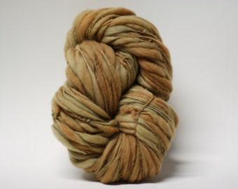 Thick and Thin Merino Wool Yarn Hand Spun Slub  Hand Dyed tts(tm) Bulky Toffee 01