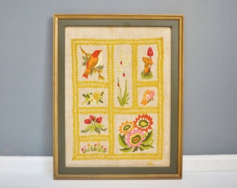 Vintage Framed Nature Crewel Wall Hanging