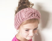 TODDLER EAR WARMER : pink ear warmer, headband with bow toddler and women's sizes