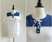 Vintage nautical blouse / rope laceup textured tee