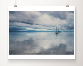 Lake Tahoe photograph boat photograph landscape photograph mountains photograph boat print nautical decor California art