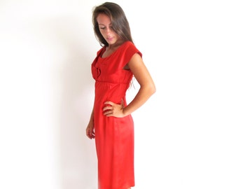 Vintage 50s Red Dress, 1950 Satin Dress, Empire waist Dress, Red Satin Dress