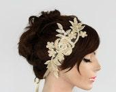 Lace Bridal Headband, Wedding Hair Fascinator, Beige Cream Floral Lacy, Rustic Modern Wedding Tulle Applique. Handmade