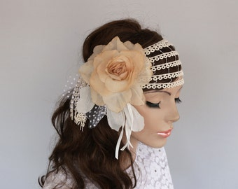 Juliet Cap Veil, Rustic Bridal Headpiece, Flower Hairpiece Retro Wedding Headband Headdress Fascinator Ecru Antic Beige Lace Hair Blush Silk