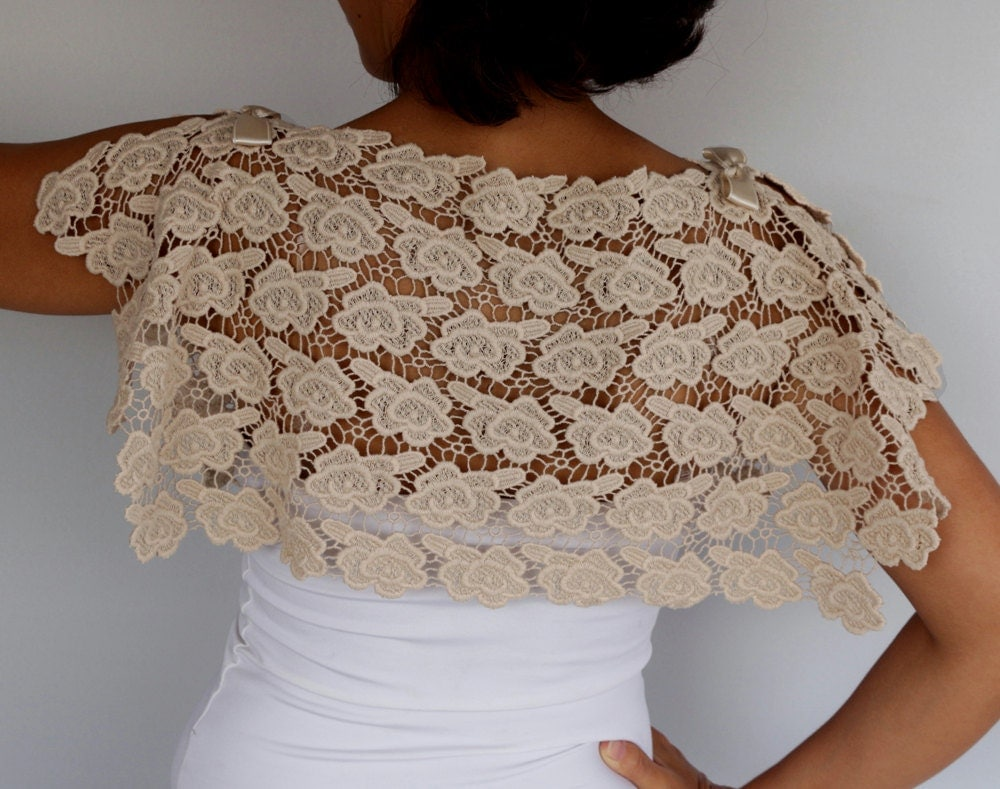 Beige Wedding Dresses: Bridal Cape Cotton Lace Bolero Shrug Beige Wedding Dress