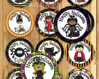 Halloween stickers Thank you tags Birthday stickers costume Party favor tags Custom Gift tags Cupcake toppers Birthday Party tags PRECUT