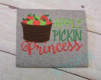 Cute Apple Pickin' Princess Embroidered Shirt--Perfect for Fall-- Appliqued Embroidered Shirt or bodysuit