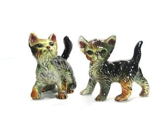 Vintage Cat Figurines: Japanese Ceramic Kittens, Pair of Glossy Felines
