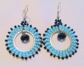 Vintage Turquoise and Black Seed Bead Drop Earrings