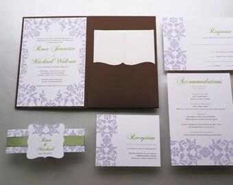 Wedding Invitation - Lavender Green and Brown Wedding Invitation, Spring Outdoor Wedding Invitation - Sample