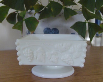 Westmorland Square Candy/Nut Dish, Grapevine Pattern, Vintage Westmorland, Milk Glass Square Candy Dish, Collectible Milk Glass Westmorland