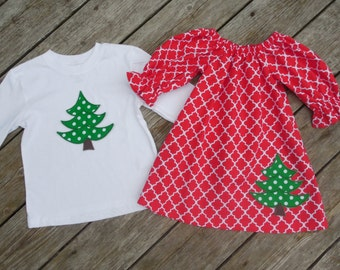 Brother and Sister Matching Outfits - Girl's Red Quaterfoil Peasant Dress with Brother Christmas Tree Appliqe