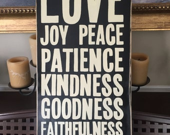 Fruit of the Spirit Typography Subway Christian Fruits Wall Art Sign Plaque XL Wooden 25x11 You  Pick Color Hand Painted Biblical Virtues
