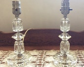 Vintage Pair of Cut Glass Table lamps