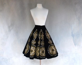 1940's vintage hand painted Mexican skirt / top - black and gold aztec print sequined velvet skirt - Medium