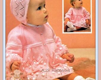 PDF Knitting Pattern for Baby Dress, Jacket and Bonnet Set - Instant Download