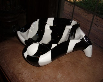 Modern, Mid-Century Hand Made Black & White Striped Ashtray
