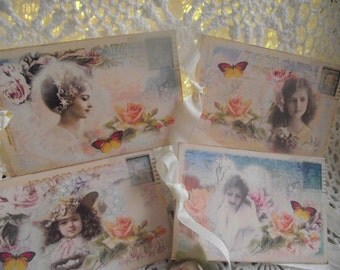 Post Cards Of Young Girls And Ladies Shabby Chic Style Pastel Colors For Scrap Booking Book Marks Party Favors