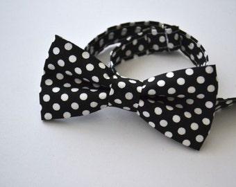 Mens Bowtie- Black Polka Dot
