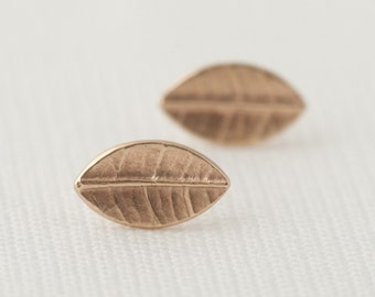 Tiny Leaf Studs In 9ct Yellow Gold