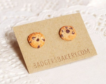 chocolate chip COOKIE STUDS - tiny cookie earrings - food miniature jewelry - Christmas stocking stuffer