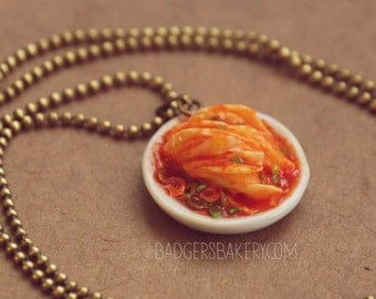 KIMCHI necklace - miniature food jewelry - KOREAN cuisine